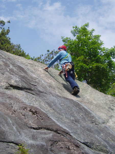 Rock Climbing Photo: RW on P5a, the 5.8 variation.  He's still belo...