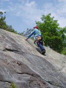 Rock Climbing Photo: RW on P5a, the 5.8 variation.  He's still belo...