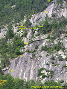 """Rock Climbing Photo: DLM Memorial Route  Anchor locations (""""BB&quo..."""