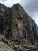 Rock Climbing Photo: Route is to the right of the arête, goes directly...