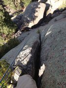Rock Climbing Photo: Looking down from near the top of the crack.  You ...