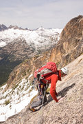 Rock Climbing Photo: Traversing over to the bearhug pitch