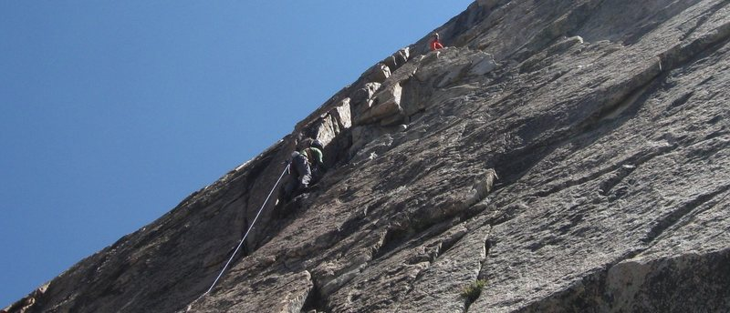 Rock Climbing Photo: P1 of Tres Frijoles on the Pinto Wall.