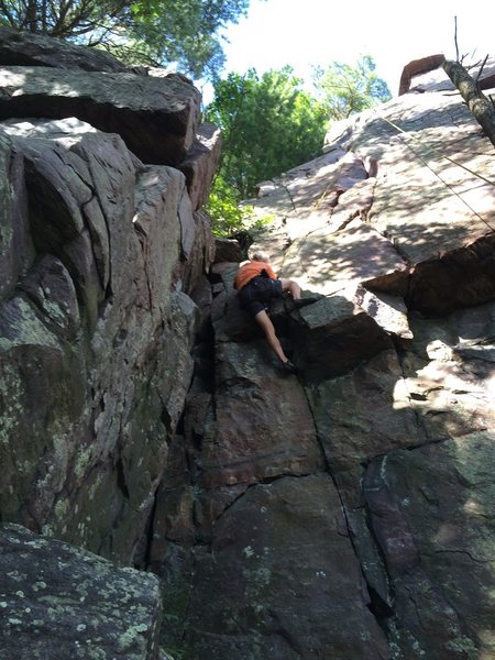 Rock Climbing Photo: Dave Erickson pulling through the nesting area.