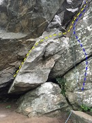 Rock Climbing Photo: This view shows the alternate start (yellow) from ...