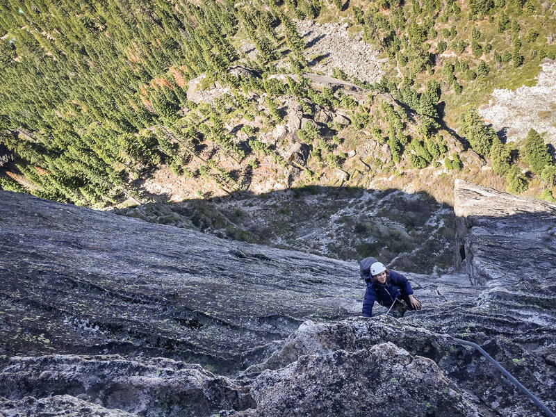 Photo credit: Mike Kavanaugh<br> Me climbing Corrugation Corner