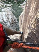 Rock Climbing Photo: Spectacular view down from pitch 2.