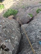 Rock Climbing Photo: Looking down the lower half of the route.