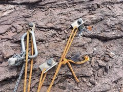 Rock Climbing Photo: Three questionable old bolts near the lip of the s...