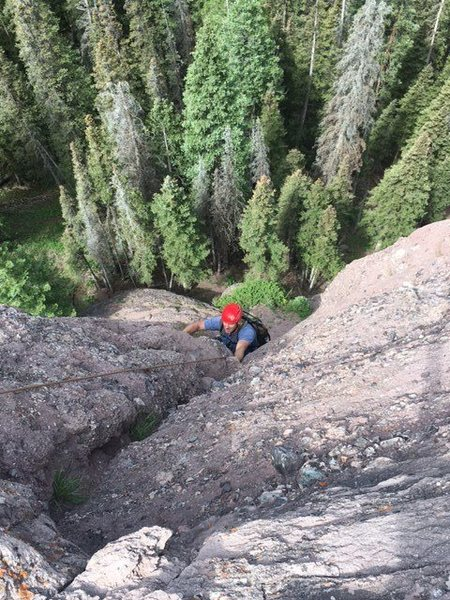 Rock Climbing Photo: Shane Foster on the upper half of the route.