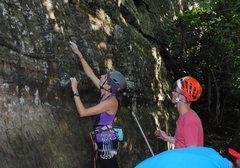 Rock Climbing Photo: Alex and Garret scoping Rikki Tikki Tavi