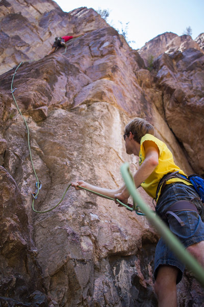 Connor letting out slack at John clips the post crux bolt