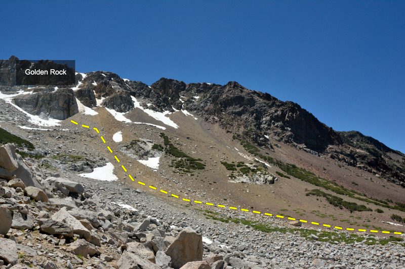 Rock Climbing Photo: Approach to the Golden Rock in Ellery Bowl up from...