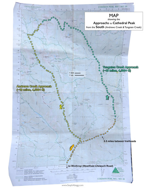 Map showing approach to Cathedral Peak area from the south (US approach).