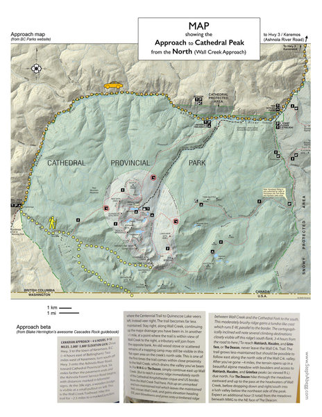 Map showing approach to Cathedral Peak area from the north (Canadian approach).