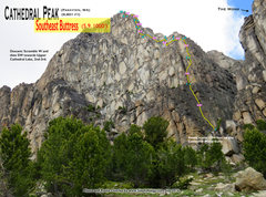 Rock Climbing Photo: Route Overlay SE Buttress.