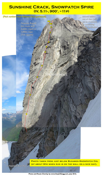 Rock Climbing Photo: Route Overlay Sunshine Crack.
