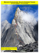 Rock Climbing Photo: Route Overlay Beckey-Chouinard.
