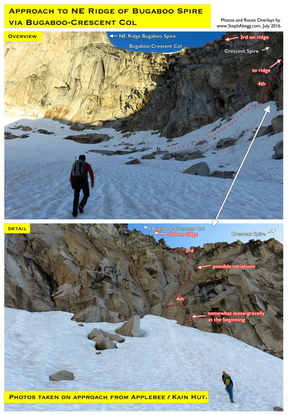 Rock Climbing Photo: Route Overlay Approach to NE Ridge Bugaboo Spire.