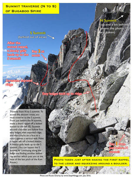 Route Overlay Summit Traverse Bugaboo Spire.