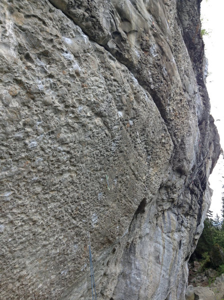Rock Climbing Photo: Rope clipped through first draw on LUE. Route ends...