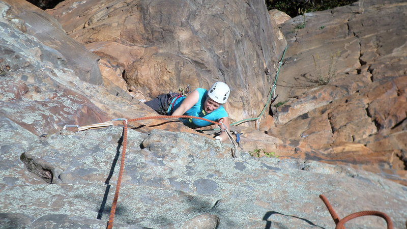 Rock Climbing Photo: Jodi finishing up pitch 2 on Circus Circus, Tennes...