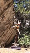 Rock Climbing Photo: Did this v4 variation in 100 degree temps. 'Tw...