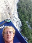 Hanging out on the portaledge while belaying on the second day.