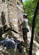 Rock Climbing Photo: Stick-clipping Teacher's Pet (5.7)
