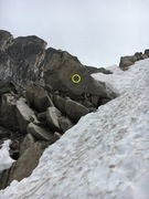 descending the snow patch bugaboo col, there are bolted anchors (4) that get you down the steep section.  I used a 60 m rope without an issue.   here is one station: