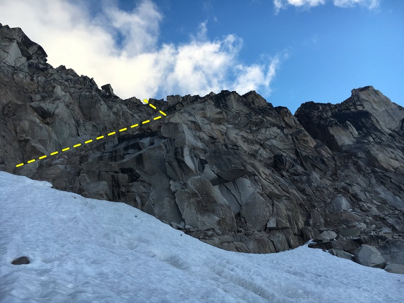 going up the crescent-bugaboo col, use the ramp depicted here.  the rappel line is very close to climbers right.  4 60m rappels gets you to the ground.