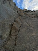 close up of ramp leading to the top of the bugaboo crescent col.