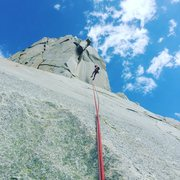 Rock Climbing Photo: Alex on the first rappel. All rappels were easy to...