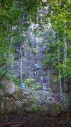 Rock Climbing Photo: Angie's first run on Rude Awakening.