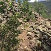 This is tha talus field below climbing area, viewed as you approach from trail