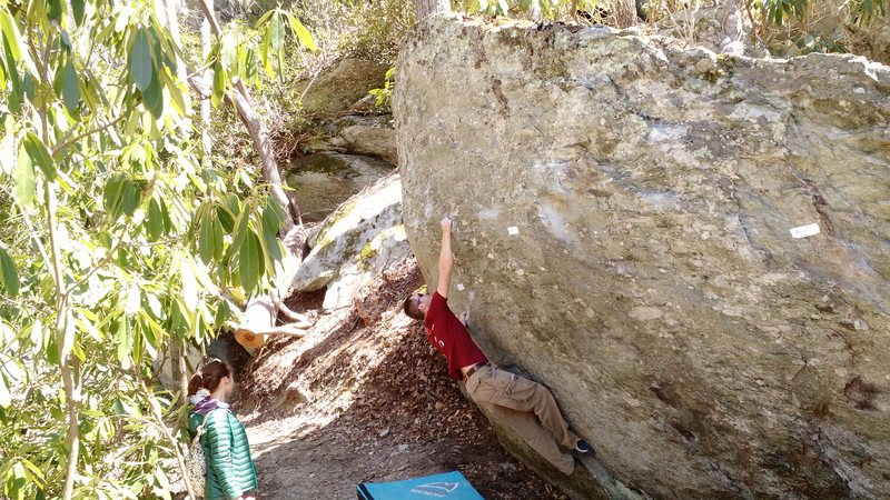 Rock Climbing Photo: Sticking the V6 move