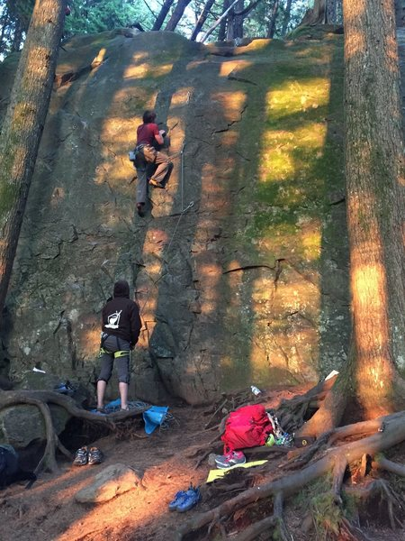 Rock Climbing Photo: Leading 99 grit while the sun sets.