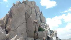 Rock Climbing Photo: Summit block requiring mantle move sits atop these...