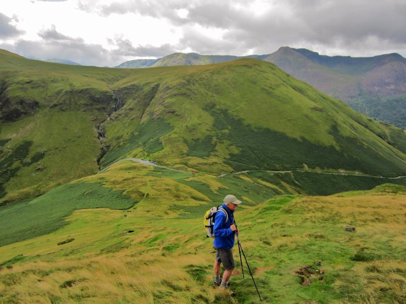 Climbing onto the Ard CRag Ridge from Newlands Pass