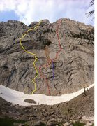 Rock Climbing Photo: Trial By Fire is shown by the yellow line on the l...