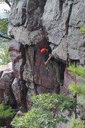 Rock Climbing Photo: Ben, unloading the #6, perhaps a bit early!