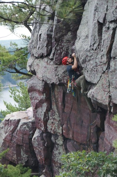 Rock Climbing Photo: Ben, in between the roof and the crux.  You can ac...