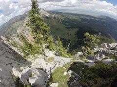 Rock Climbing Photo: Top of pitch 8 below the headwall.