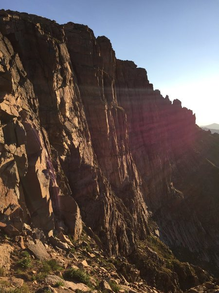 Rock Climbing Photo: Tan Buttresses from the start of the descent trail...