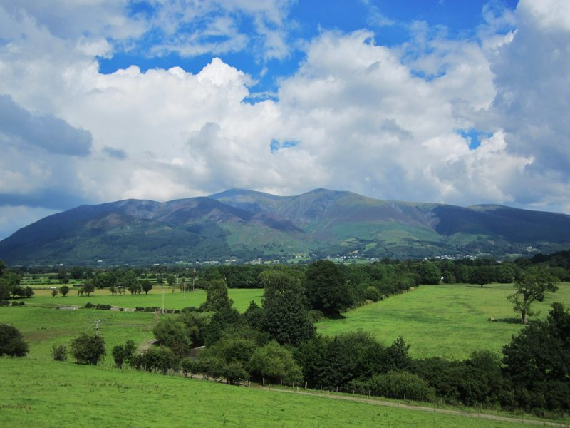 Sunny summer day on Skiddaw mountain