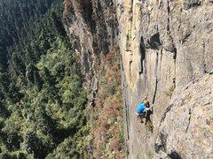 Rock Climbing Photo: Armando Dattoli below the 2nd crux of La Paloma.  ...