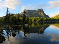 Rock Climbing Photo: Cathedral Peak from Upper Cathedral Lake. SE Buttr...