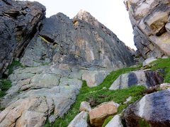 Rock Climbing Photo: The route starts ~150 feet up the Cathedral-Monk g...