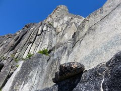 Rock Climbing Photo: Pitches 6-7 follow 5.7 blocks and cracks to the ba...