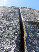 Rock Climbing Photo: Offwidth on Pitch 9. Most climbers bypass the offw...